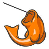 Orange fish on fish line. An illustrated view of an orange fish with mouth wide open, hooked on a fish line Stock Photo