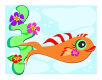 Orange Fish with Flowers. Here is a cute Fish surrounded by flowers Royalty Free Stock Photo
