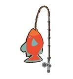 Orange fish marine ecosystem life fishing rod. Illustration eps 10 Stock Images