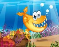 An orange fish near the coral reefs. Illustration of an orange fish near the coral reefs Stock Photo