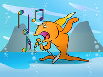 Orange  fish singing performance Stock Images