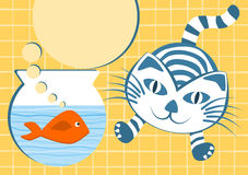 Orange Fish and jumping cat. Invitation card with an orange fish on a bowl and a jumping cat. Space to put text inside the thinking bubble Stock Photo
