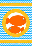 Orange Fishes Greeting Card Royalty Free Stock Image