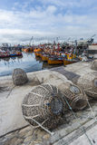 Orange fishing boats in Mar del Plata, Argentina Royalty Free Stock Photos