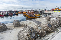 Orange fishing boats in Mar del Plata, Argentina Stock Image
