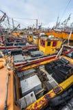 Orange fishing boats in Mar del Plata, Argentina Stock Photography