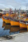 Orange fishing boats in Mar del Plata, Argentina Stock Image