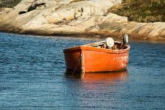 Orange fishing dory Royalty Free Stock Photos