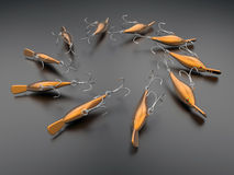 Orange fishing lures Royalty Free Stock Photos