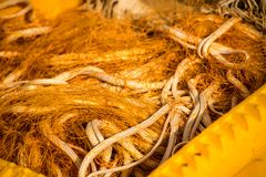 Orange fishing net on a fishing cutter. In an harbor royalty free stock images