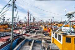 Orange fiskebåtar i Mar del Plata, Argentina Royaltyfri Fotografi