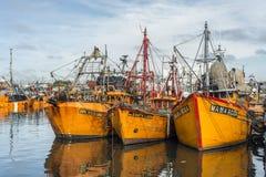 Orange fiskebåtar i Mar del Plata, Argentina Arkivfoto