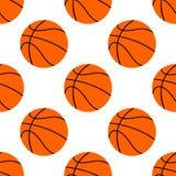 Orange flacher Basketballball, Vektorillustration lokalisiert auf weißem Hintergrund Nahtloses Muster stock abbildung