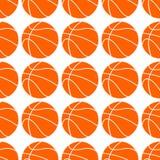 Orange flacher Basketballball, Vektorillustration lokalisiert auf weißem Hintergrund Nahtloses Muster Sportbasketballentwurf lizenzfreie abbildung