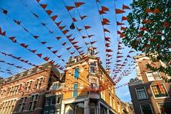 Orange Flag on the street, Amsterdam Stock Photography