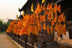 Orange Flags with Buddhist symbol in front of a stock image