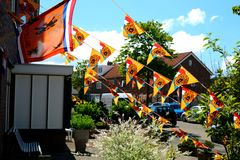 Orange flags decoration Stock Image