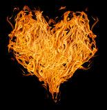 Orange flame heart on black Stock Photo