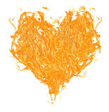 Orange flame heart on white Royalty Free Stock Images