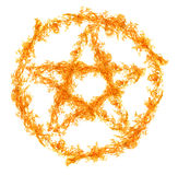 Orange flame pentagram isolated on white Stock Photography