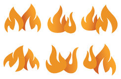Orange Flame Symbols Vector Illustration Stock Photography