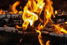 Orange flamma bland den brända kolbrandbakgrunden Arkivfoton