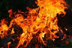 Orange Flammen des Feuers Stockbilder