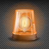 Orange Flasher Siren Vector. 3D Realistic Object. Light Effect. Rotation Beacon. Emergency Flashing Siren.  On Stock Photos