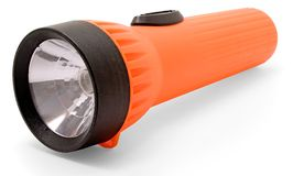 Orange Flashlight. On a white background Stock Images