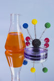 Orange flask and petri dish Stock Photo