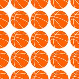 Orange flat basketball ball, vector illustration isolated on white background. Seamless pattern. Sport basketball design royalty free illustration