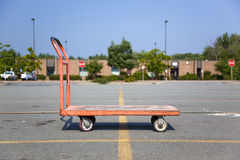 Orange flat bed cart Royalty Free Stock Photos