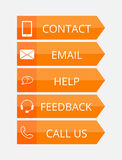 Orange flat contact buttons Royalty Free Stock Photo