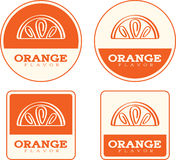 Orange Flavor Food Labels Stock Photos