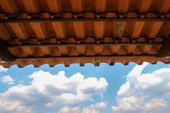 Orange Fliesendach gegen Hintergrund des blauen Himmels Lizenzfreies Stockfoto