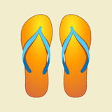 Orange Flip-Flops. Vector Illustration of Orange Pair of Flip-flops Stock Image