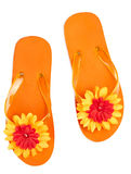 Orange flip-flops with flowers. On a white background Stock Photo