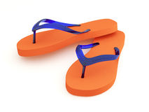 Orange flip flops on white background. Pair of orange flip flops on isolated white background stock images