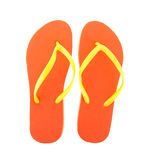 Orange flipflops. For the summer isolated over white background royalty free stock images