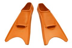 Orange flippers isolated Stock Image
