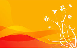 Orange Floral. Orange background with floral design Royalty Free Stock Photography