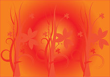 Orange floral background. Three same floral motives on orange background vector illustration