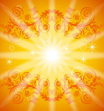 orange floral background with ornament Stock Images