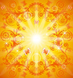 Orange floral background with ornament stock photo
