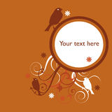 Orange floral bird background. Orange floral and bird swirly background with space for text Royalty Free Stock Image