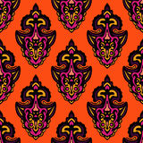 Orange Floral festive vector pattern. Abstract damask Orange Floral festive vector pattern Stock Photos