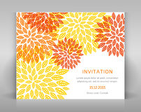 Orange floral invitation. Royalty Free Stock Photo