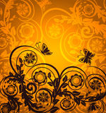 orange floral ornament with butterfly stock photos