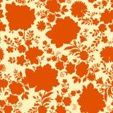 Orange Floral Seamless Pattern. Stock Photos