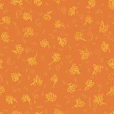 Orange floral seamless. Orange summer flowers pattern with curve Stock Image